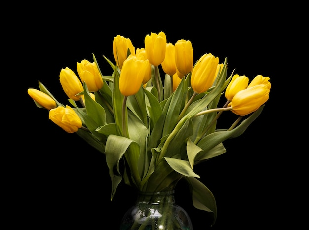 Bouquet of yellow tulips in a glass vase on a black background. beautiful flowers. st. valentine's day. march 8. high quality photo