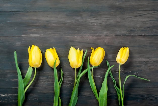 Bouquet of yellow tulips with a yellow ribbon on a wooden background