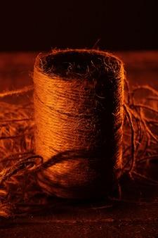 Bovine thread on wooden table