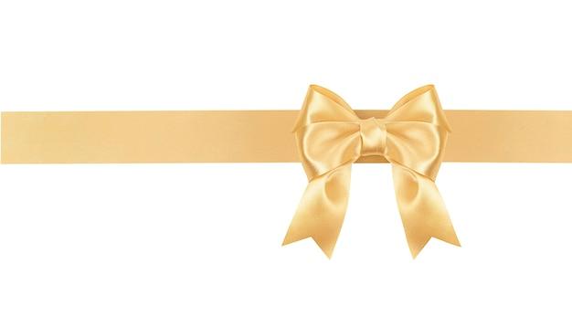 Лук и атласная лента золотого цвета на белом изолированные