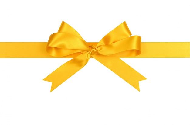 Желтый сатин подарок ленты лук