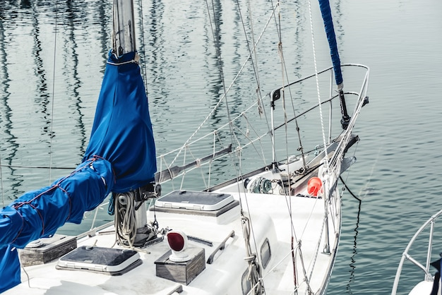 Bow of moored sailing yacht