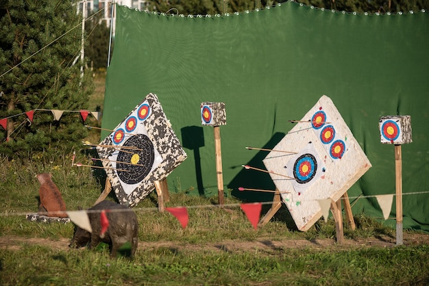 Bow targets on a sunny day