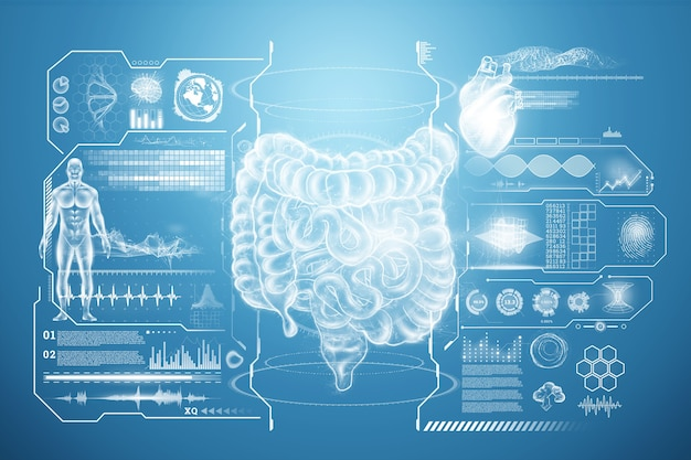 활력 징후 및 의료 데이터를 사용한 장 홀로그램 투영 스캔.