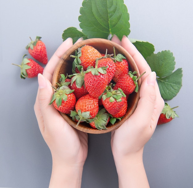 Bowl of beautiful delicious strawberries