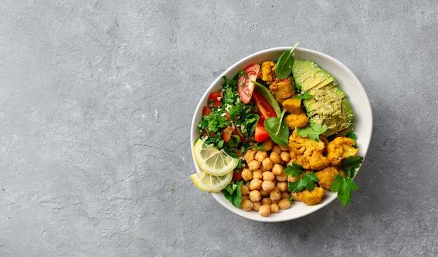 Bowl buddha balanced healthy vegetarian food top view