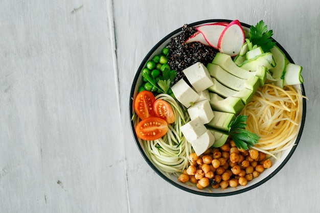 Bowl buddha spiralized vegetables top view healthy food clean eating