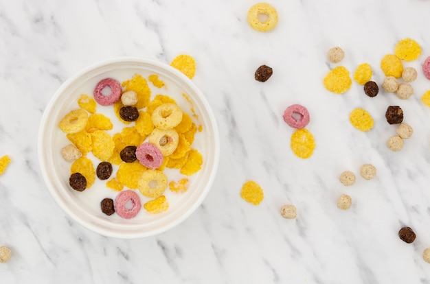 Bowl of cereal on marble background