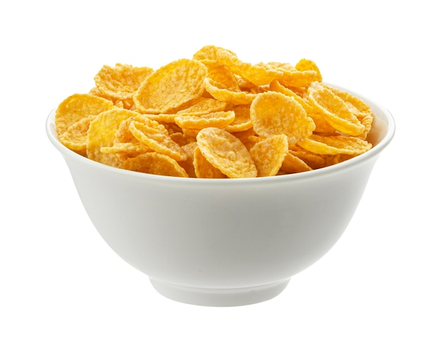 Bowl of corn flakes isolated on white background top view