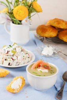 Bowl of creamy leek soup with smoked salmon