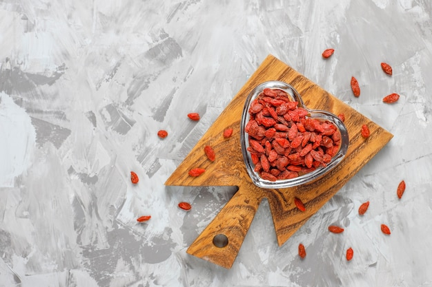 Bowl of dried goji berries.