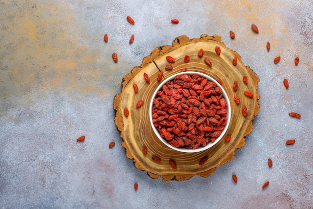 Bowl of dried goji berries.