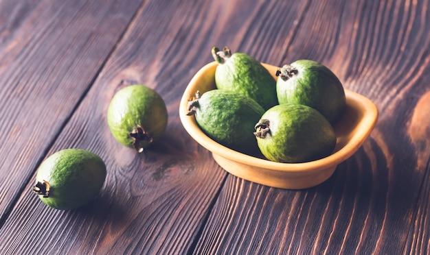 Bowl of feijoa fruits
