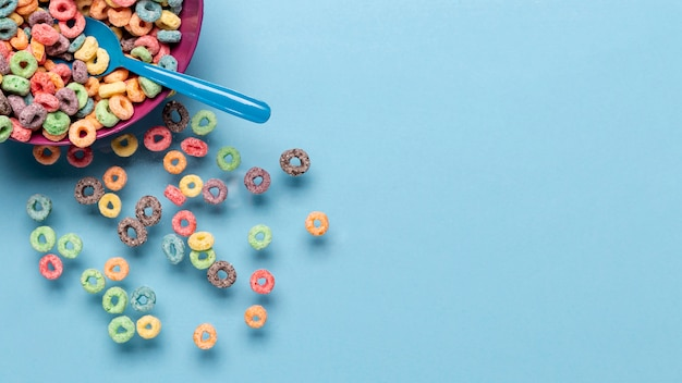 Bowl filled of cereals with copy space background