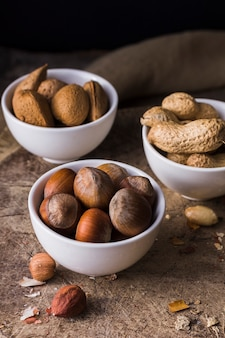 Bowl filled with healthy mixture of nuts