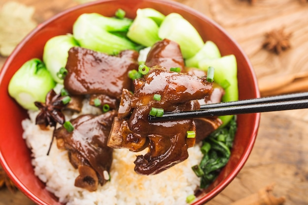 A bowl of fresh trotters rice