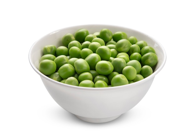Bowl of green peas isolated on white background with clipping path