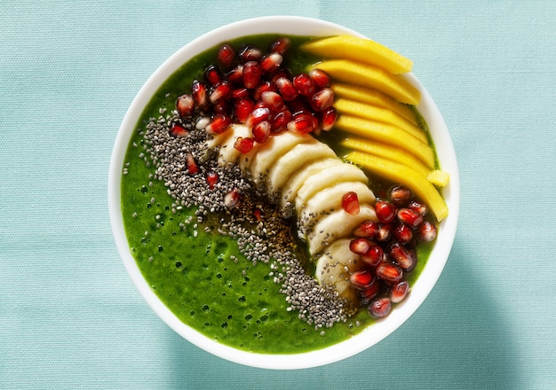 Bowl of green smoothie with sliced mango