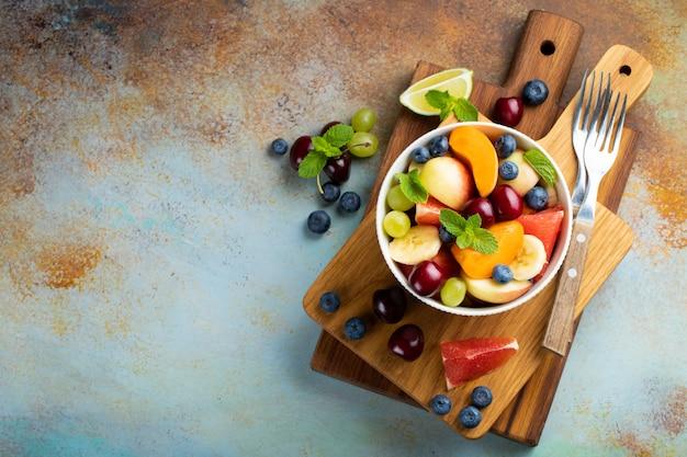 Bowl of healthy fresh fruit salad.