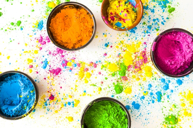 Bowl of holi colored powder on white background