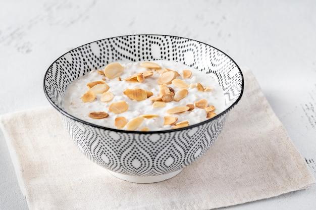 Bowl of homemade bircher muesli in bowl