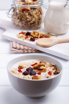 Bowl of homemade muesli with nuts