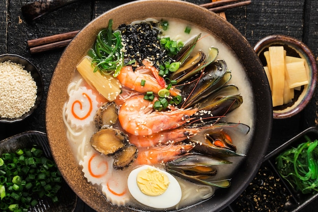 A bowl of japanese seafood ramen