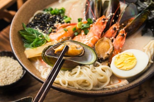 A bowl of japanese seafood ramen