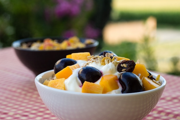 Bowl of oatmeal with yogurt, fresh peaches, blueberries and cherries