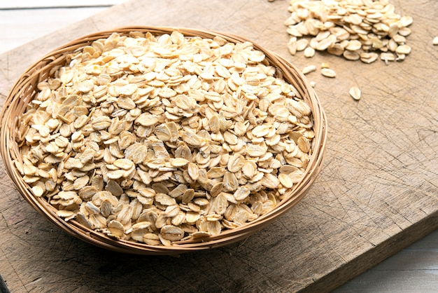 Bowl of oatmeal on a wooden table