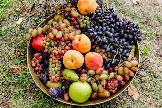 Чаша из свежих фруктов, осеннее настроение с теплыми цветами в саду