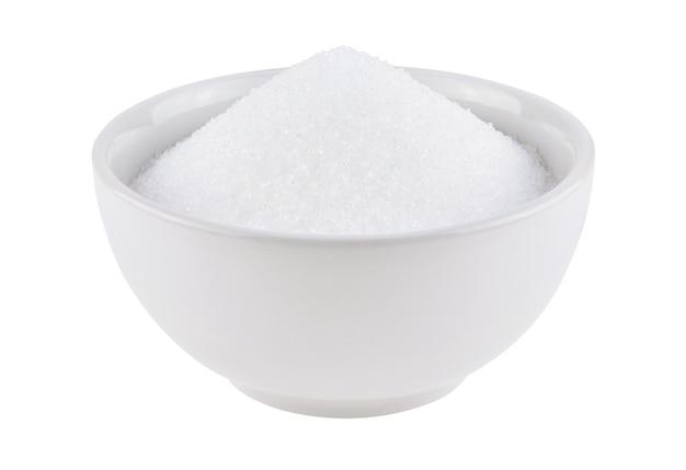 白い背景で隔離の白い砂糖のボウル