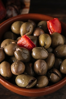 Bowl of pickled olives
