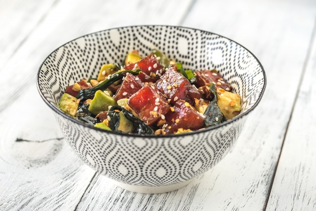 Bowl of poke - traditional hawaiian dish