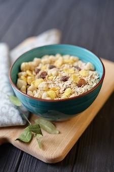 Bowl of porridge and cereals