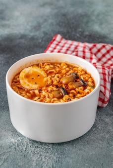 Bowl of ramen - japanese noodle soup: top view
