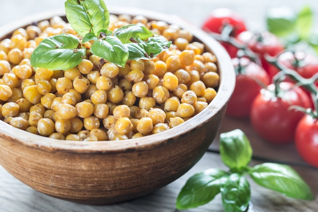 Bowl of roasted chickpeas