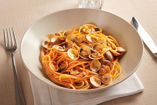 Bowl of spaghetti alle vongole or clams