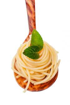 Bowl of spaghetti isolated