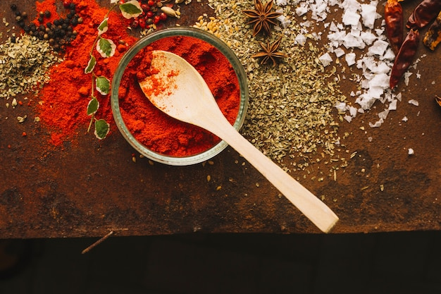 Bowl and spoon with paprika near spices