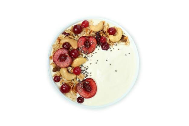 Bowl of tasty yogurt isolated on white background
