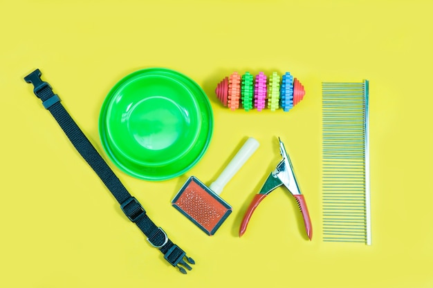 Bowl, toys, collars, comb, bottle of water and nail scissors