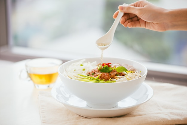 A bowl of traditional vietnamese pho noodle