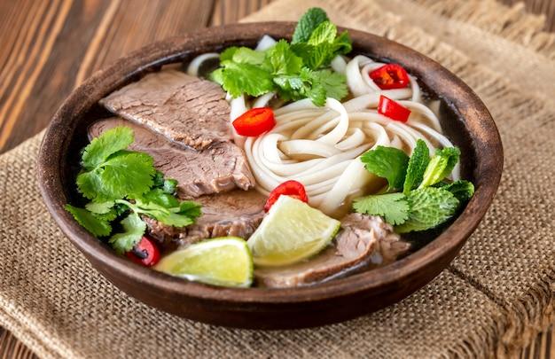 Bowl of vietnamese soup beef pho (pho bo)