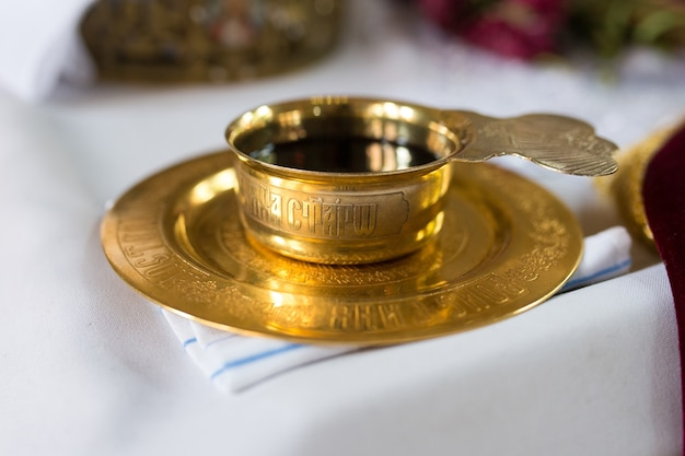 A bowl of wine for communion in the church on the table