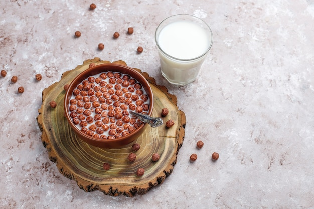 Bowl with chocolate balls and milk, top view