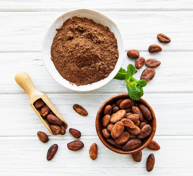 Bowl with cocoa powder and beans