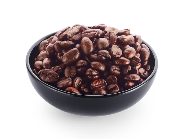 白のコーヒー豆とボウル。