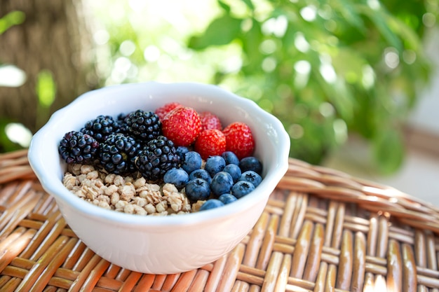 Bowl with crispy granola and fresh berries