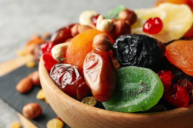 Bowl with dried fruits and nuts, close up